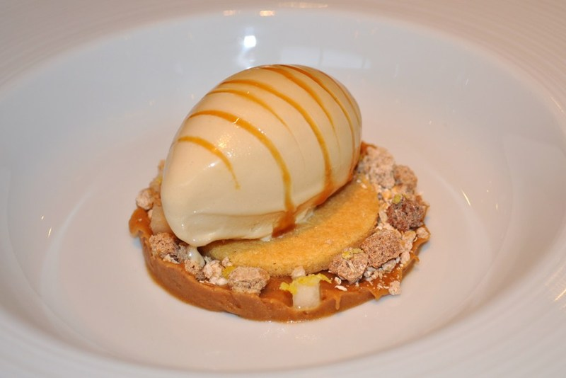 Brown bread ice cream with salted butter caramel malted yeast syrup