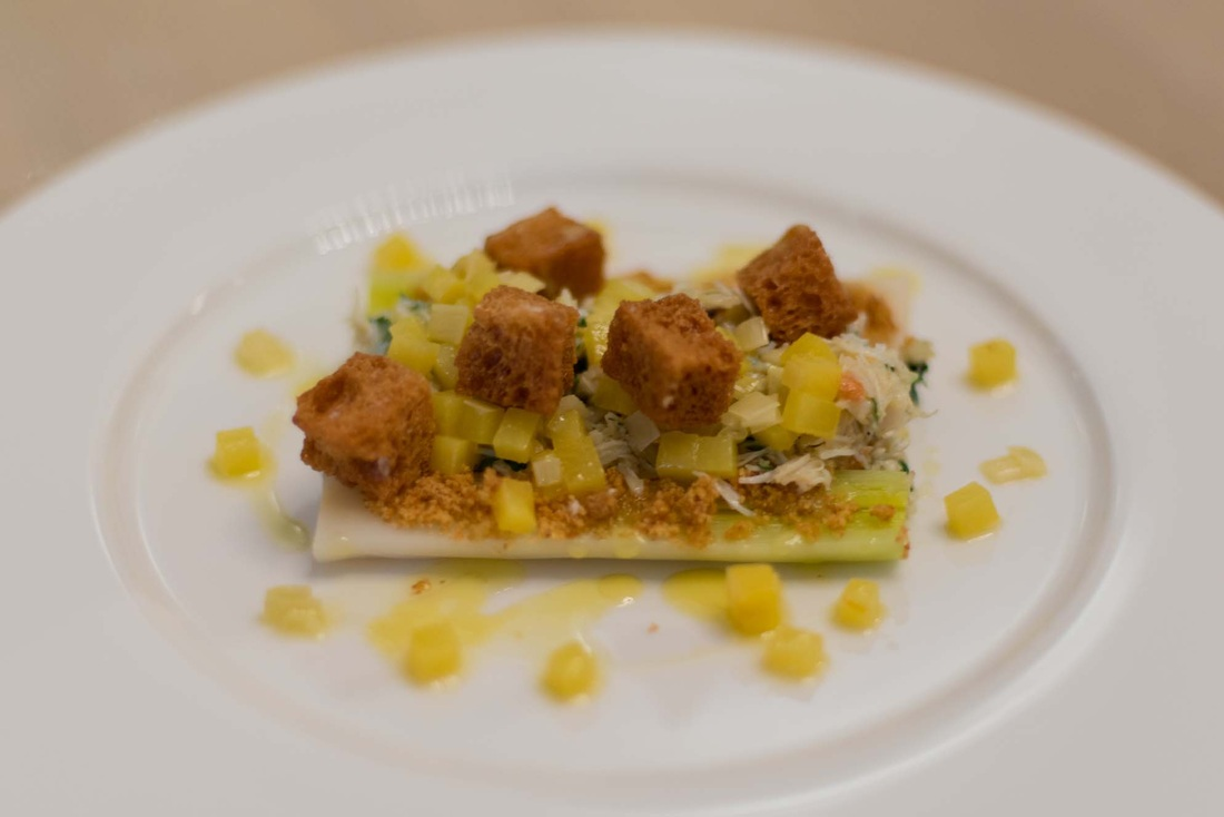... , Cornish crab salad, leek and potato vinaigrette and brioche crumb